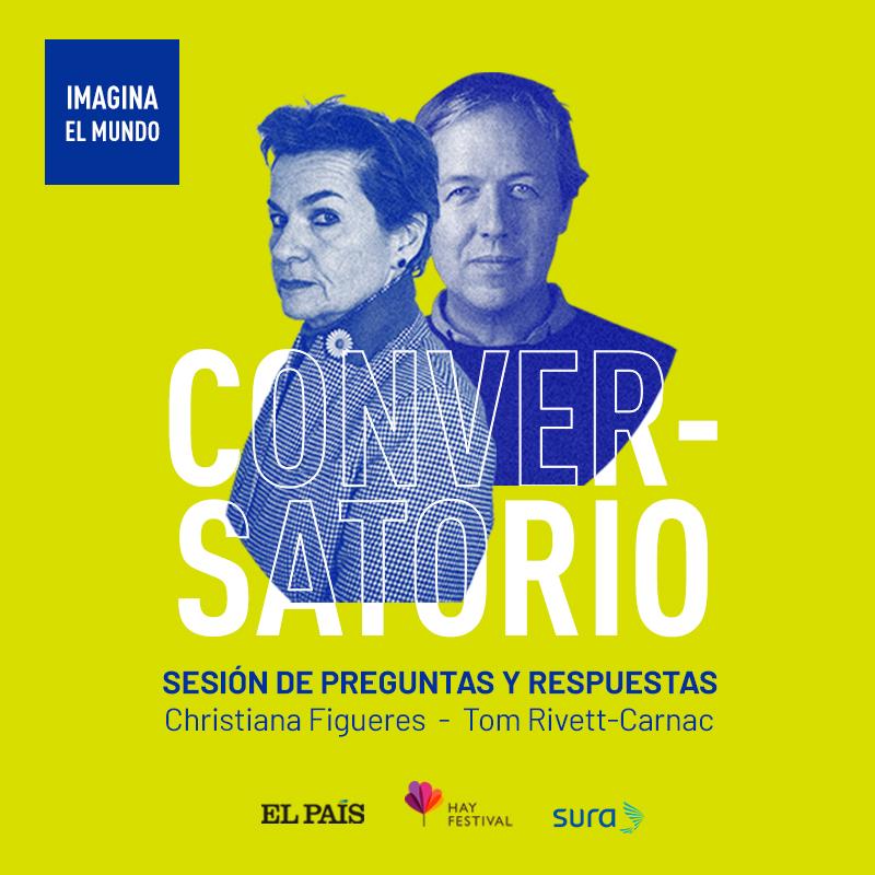 Un periodista de El País entrevista a  Christiana Figueres y Tom Rivett-Carnac (Costa Rica/ R).